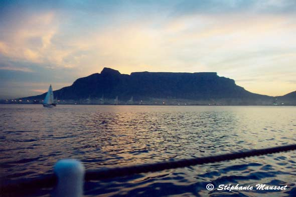 The table mountain in Cape town seen from the sea