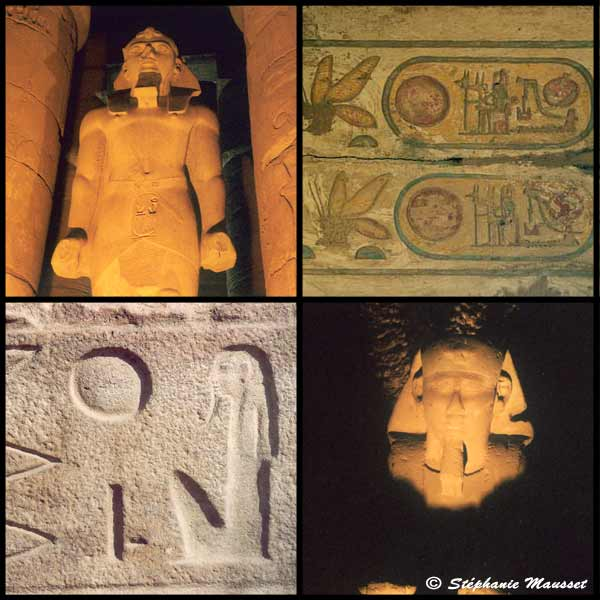 [Photo Statues of Luxor and engravings of Karnak]
