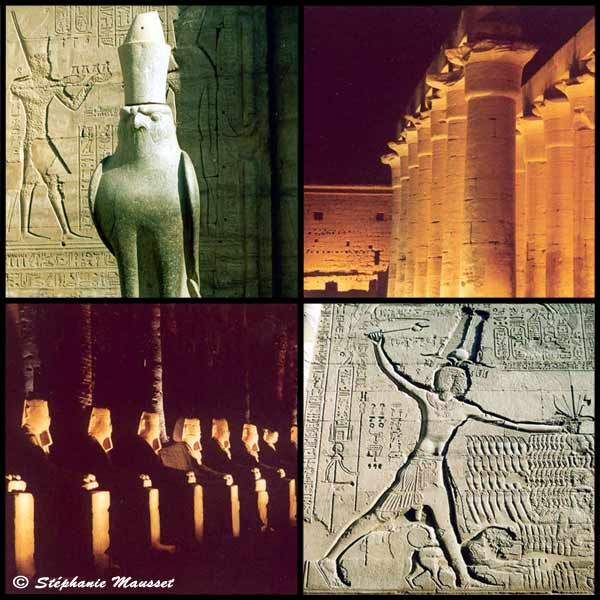 [Photo Horus statue of Edfu and pharaoh engraving of Esna]