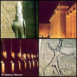 [Egypt temples photos - Horus statue in Edfou pharaoh engraving in Esna]