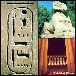 [Egypt temples photos - Karnak sphinx and Amenophis courtyard in Luxor]