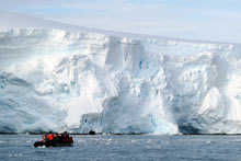 Glacier de Wilhelmina bay en Antarctique