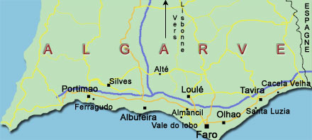 Carte d'Algarve sud Portugal